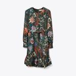 Printed Silk Twill Shift Dress