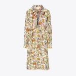 Contrast-Binding Printed Shirtdress