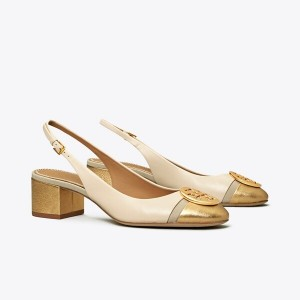 MINNIE METALLIC CAP-TOE SLINGBACK PUMP