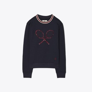 Racquet-Embroidered French Terry Crew