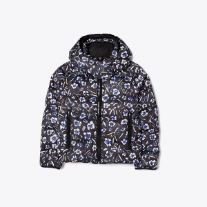 Cropped Printed Performance Satin Down Jacket