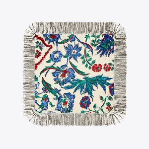 Porcelain Thistle Silk Square Scarf
