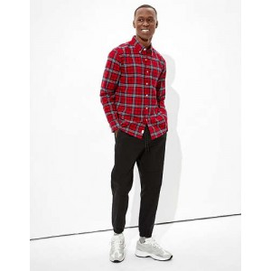 AE Plaid Brushed Oxford Button Up Shirt