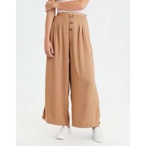 AE High-Waisted Button Front Wide Leg Pant