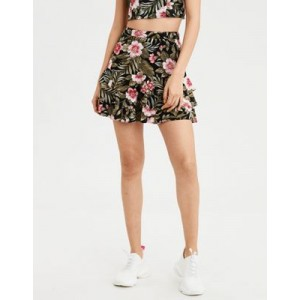 AE High-Waisted Tropical Tiered Mini Skirt
