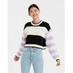 AE Mixed Stripe Boxy Cropped Sweater