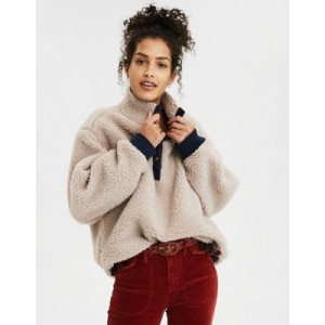 AE Fuzzy Faux Sherpa Popover Jacket