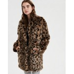 AE Faux Fur Leopard Print Coat