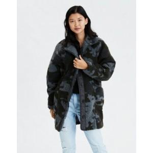 AE Fuzzy Faux Sherpa Camo Jacket