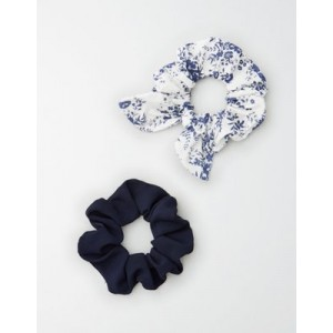 AE White Floral Scrunchie 2-Pack