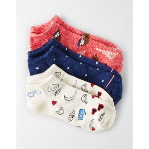 AEO French Sloth Ankle Sock 3-Pack