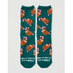 AEO Sloth Candy Cane Crew Sock