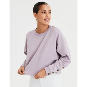 AE Ahhmazingly Soft Button Cuff Crew Neck Sweatshirt