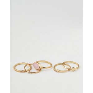 AE Rose Quartz Stacking Ring 5-Pack