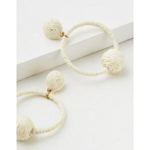 AE White Raffia Hoop Earring