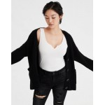 AE Button Front Long Cardigan