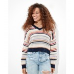 AE Chenille Cropped V-Neck Sweater