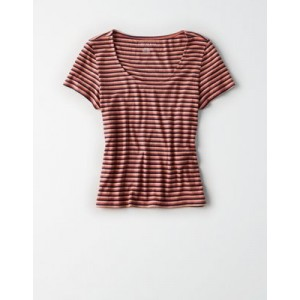 AE Ribbed Striped Scoop Neck Tee