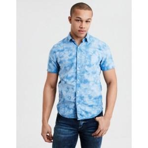 AE Short Sleeve Tie-Dye Poplin Button Down Shirt