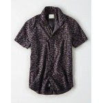 AE Short Sleeve Printed Poplin Button Up Shirt