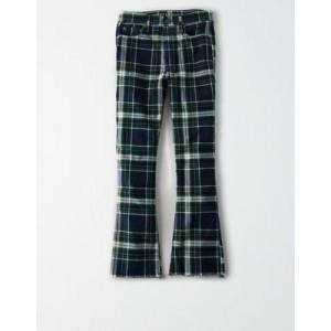 High-Waisted Plaid Corduroy Crop Flare Pant