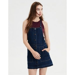 AE Button Front Denim Dress Overall