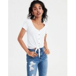 AE Pointelle Button-Down Tie-Front Tee