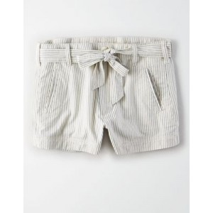 High-Waisted Belted Striped Short