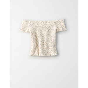 AE Off-The-Shoulder Smocked T-Shirt