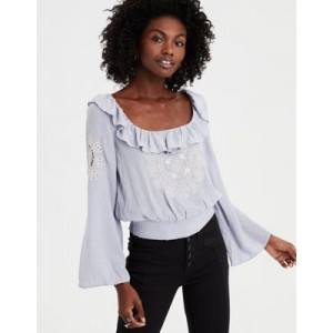 AE Long Sleeve Embroidered Blouse