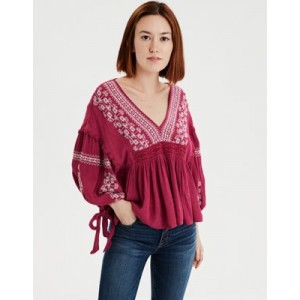 AE Long Sleeve Embroidered Bohemian Blouse