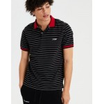 AE Short Sleeve Logo Stripe Polo Shirt