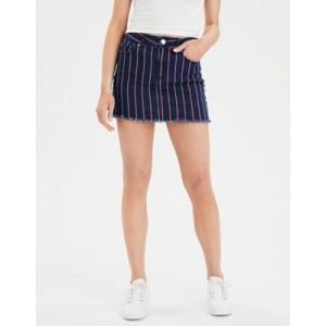 AE Ne(X)t Level High-Waisted Striped Denim Mini Skirt