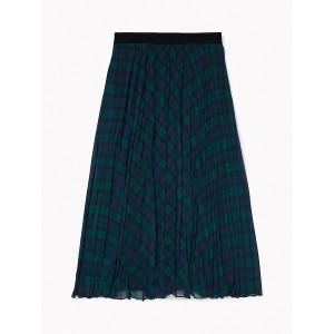 Tartan Pleated Midi Skirt