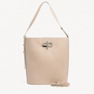 Leather Turnlock Bucket Bag
