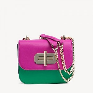 Leather Turnlock Crossbody Bag