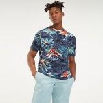 Slub Cotton Palm Print T-Shirt
