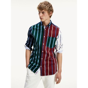Patchwork Stripe Slim Fit Shirt