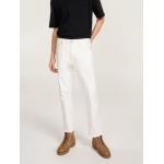 Tonal Crest Raw Hem White Jeans