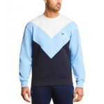 Mens Regular Fit Long Sleeve Crew Neck Fleece Pique Sweatshirt with V-shaped Colorblocking