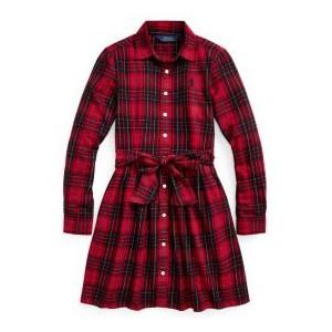 Toddler Girls Plaid Cotton Twill Shirt Dress