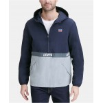 Mens Colorblocked Water Resistant Popover Jacket
