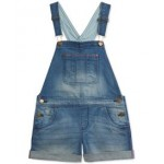 Toddler Girls Stretch Denim Shortalls