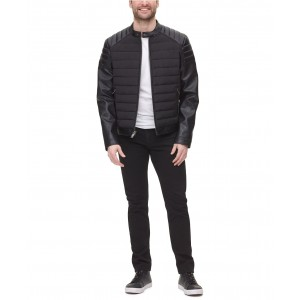 Mens Mixed Media Faux Leather Quilted Racer Jacket