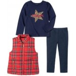 Little Girls Plaid Vest with Long Sleeve T-shirt and Faux Knit Denim Legging Set, 3 Pieces