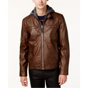 Mens Faux-Leather Detachable-Hood Motorcycle Jacket
