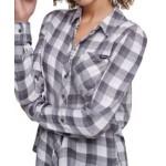 Plaid Puff-Sleeve Shirt