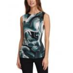 Sleeveless Swirl-Print Top