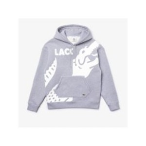 Mens LIVE Loose Fit Long Sleeve Colorblock Hoodie with Printed Oversized Croc and Logo Lettering