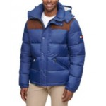 Mens Mixed Media Nylon and Corduroy Quilted Puffer Jacket, Created for Macys